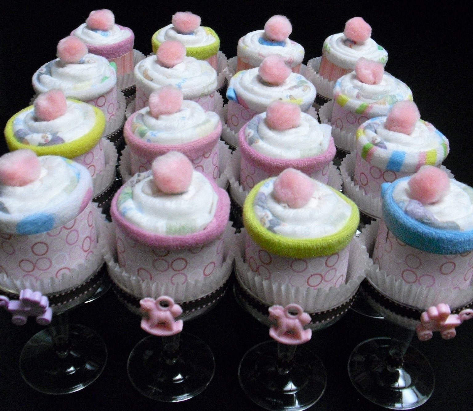 Champagne diaper cupcakes pink n brown cake by nothingbuthandmade