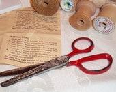 Old Childrens Scissors Metal Red Handled