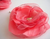 2 Pink Rose Layers Fabric Flower Hairpin