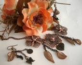 Antiqued Filigree Flower Necklace Set with Earrings