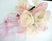 Handmade Bridal hand Flowers Ivory Cream Pink Little wedding Bouquet with Huge Butterfly Wings