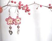 Crochet  Earrings heart added  flower women dangle earrings