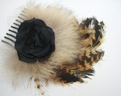Brown tan Feather Hair Fascinator comb  fluffy black fabric flower center