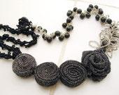 Unique Design Beaded  Fabric Patchwork Necklace