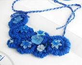 Fiber art statement bib necklace