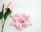 Shaby Chic Frayed Pink  Floral  Brooch  gift her Under 15