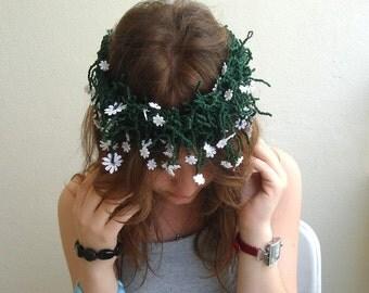 Daisy Necklace Floral headpiece Green Daisy Crown Daisy Headband Daisies Floral Wreath  MADE TO ORDER
