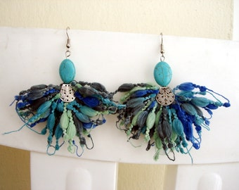 Turquoise Earrings blue yarn jewelry handmade statement earrings