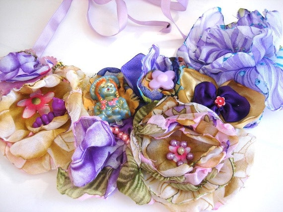 Violet tones Fabric Flowers Spring  Garden Bib Necklace with fun funy cute findings