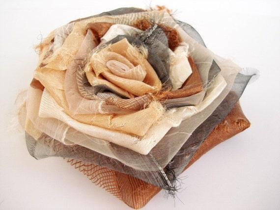 Ecru Tan grey smoked Ivory Cream Copper Bloom Handmade Flower Brooch or hair flower