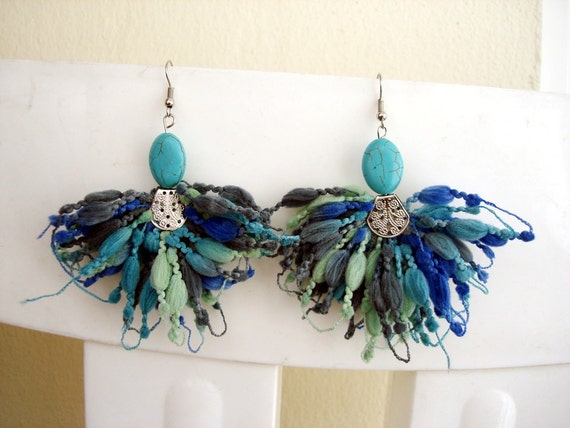 Turquoise Earrings blue yarn jewelry handmade statement earrings