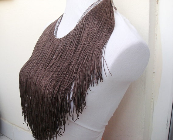 Brown fiber Fringe Necklace or tribial dance belt