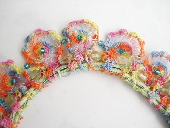 Vintage Crochet Lace Rainbow Choker Necklace