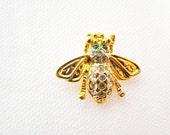 vintage Bejeweled Bug Brooch, rhinestone encrusted fly, costume jewelry