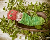 Red hat and Green Caterpillar cocoon handmade and custom just for you