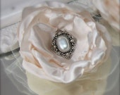 Bridal Hair Flower, Vintage Romance Ivory Satin, clip or pin, custom colors