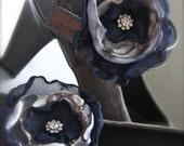 Flower Shoe Clips, Navy Blue and Gray vintage style rhinestone organza, custom wedding colors