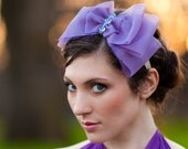 Big Bow Headband, Shabby Chic Crystal Headpiece, Purple bow headband Lavender Purple organza, Custom color ready to ship
