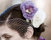 Lavender Organza Flower Fascinator, Pearls, Crystals, custom colors, ready to ship