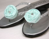 Shoe Clips, Rosettes, Tiffany Blue, Aqua Blue Satin, Rhinestone, custom colors shoe clips