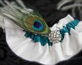 Peacock Garter, Diamond White Silk, Teal Bridal garter, peacock feather, rhinestone