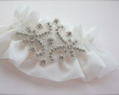 Ethereal Rhinestone Beaded Garter, silver, white, ivory, other colors available