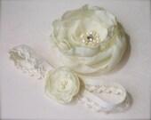 Bridal Flower Garter and Hair Flower Set, Bridal Garter, Hair Clip or Dress Sash Pin Flower, Freshwater Pearls, Rhinestone, custom colors