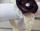 Beaded Bridal Headband, Couture Flower Crystal Rhinestone Headpiece Deco Style- Rhinestone Headband Hair Accessory custom color flower