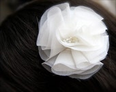 Flower Fascinator Organza Pouf Bloom white, ivory flower, champagne, blush pink, mint, lavender Bridal Flower- Other colors available