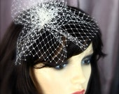 Birdcage Veil with Pouf, Petite Birdcage Veil, French Veil, Russian Veil, white, black, champagne, ivory ruffled birdcage fascinator