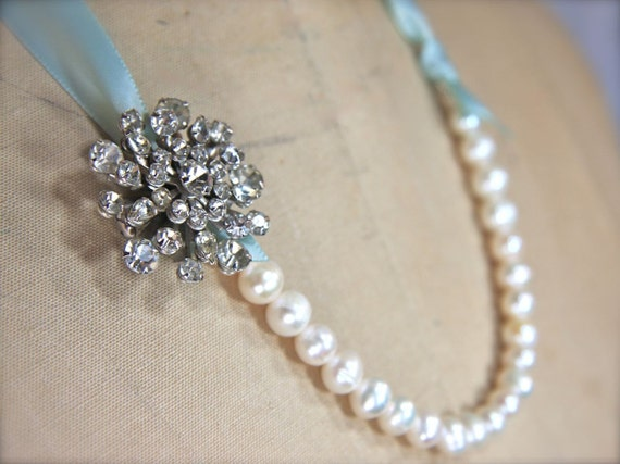 Items similar to vintage brooch necklace freshwater pearl for Ribbon tie necklace jewelry