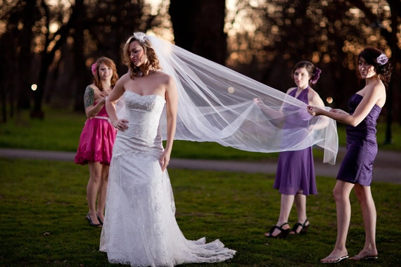 Wedding Veil, Royal Cathedral veil 144 inches long, 108 inch wide cut edge Bridal Tulle Veil in white, ivory, diamond white, champagne