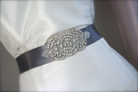 Rhinestone Jeweled Belt Bridal Sash Silver, Pewter Gray, Satin Ribbon Tie, Art Deco Circles Belt, Crystal Rhinestone Bridal Dress Sash