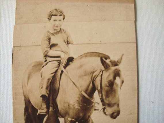 Antique Photo - Young Boy On Horse or Pony - 1930's