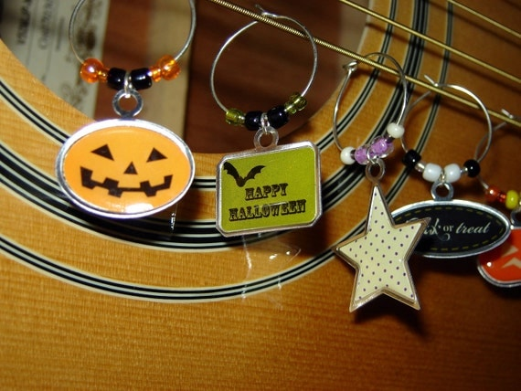 Wine Glass Charms HALLOWEEN PARTY (Set of 6) Free Shipping