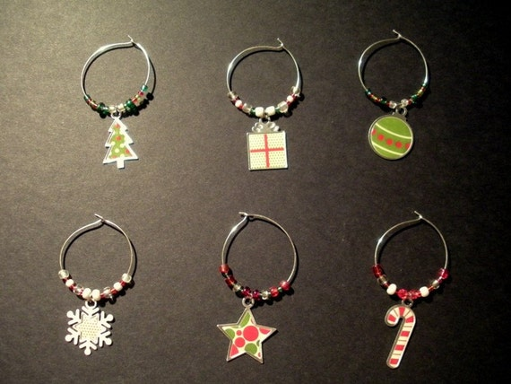 Wine Glass Charms CHRISTMAS PARTY (Set of 6) Free Shipping