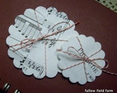 Vintage Music Papers--50 Scalloped Edge Circles