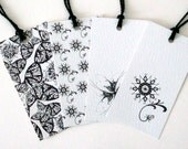 RESERVED LISTING Black and white mixed pattern gift tags, set of 4