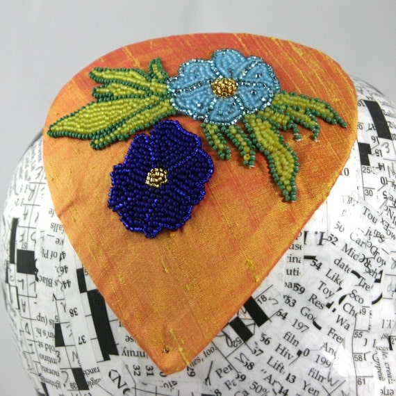 Sherbet and Blue Flower Beaded Fascinator, Marty Robbins