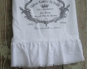 Handmade, Hostess, Farmhouse, Cottage French Style Ruffled Flour Sack Towel