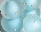 SALE! Sand Pebbles in ICE .....Set of -5- Handmade Lampwork Beads.....blue ocean sea glass water beach summer BeatleBabyGlassworks SRA