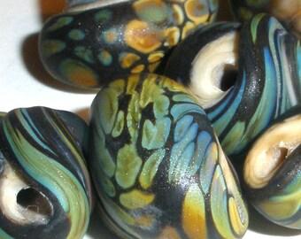 Lampwork Glass Beads  ESCARGOT....Set of 6 Handmade ETCHED Raku  shell sea shore beach sand summer snail ...BeatlebabyGlassworks