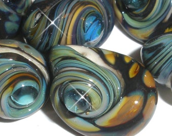 ESCARGOT...Set of 6 Shiny Handmade Lampwork Raku glass Beads shell snail beach summer ocean water sea shore Beatlebaby Maineteam SRA