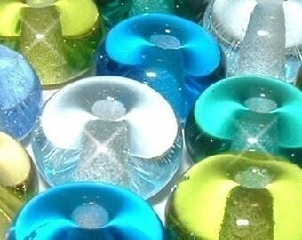 SEA SPACERS..... 12  Lampwork Glass Beads ocean water color sea glass teal aqua summer beach spacer vacation ocean sra BeatleBaby