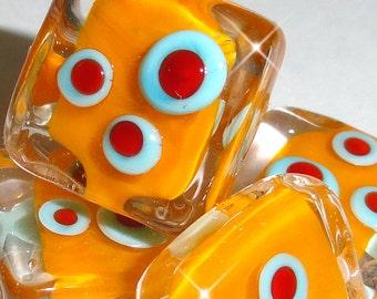 Retro Tiles...set of FIVE Funky Lampwork Beads marigold square tile red blue mod ....BeatleBaby Glassworks