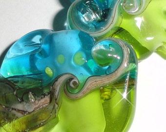 Sea Tarts in Lime and Aqua....Ocean beach summer tropical green blue ocean water cruise  Beatlebaby Glassworks