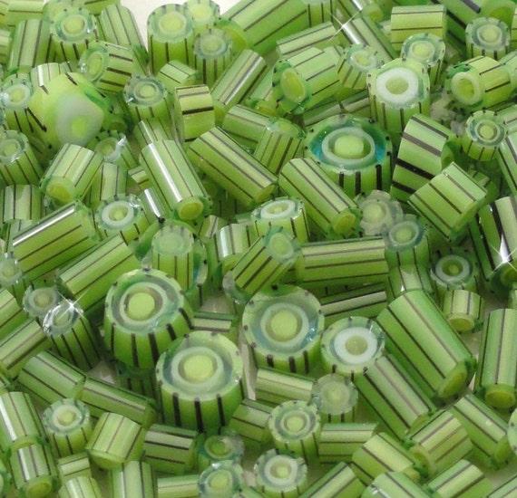 Banda Verde.....Handmade Murrini Chips...Millefiori Slices......COE 104....Beatlebaby Glassworks