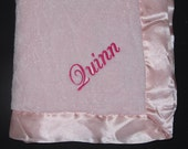 Personalized Satin Trim Baby Blanket Pink, Blue, White