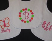 3 Personalized Bibs Gift Set Baby Girl Butterfly Monogram Initial Name