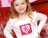 Valentine Initial Shirt Scalloped Heart in Pink and Red